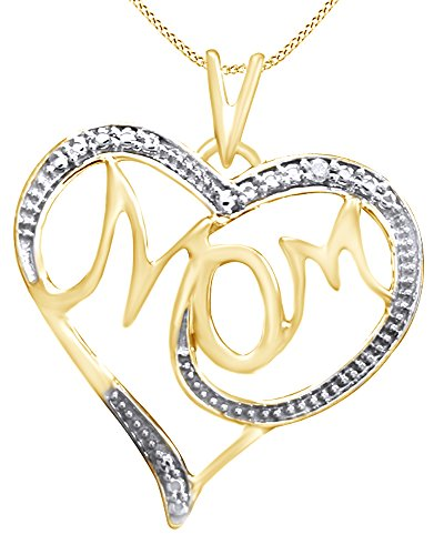 Mothers Day Jewelry Gifts Natural Diamond Accent Mom Heart Pendant Necklace inTwo Tone Sterling Silver ()