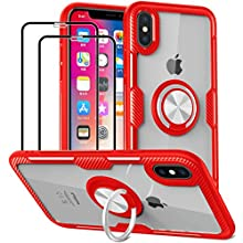 KOSPH for iPhone X/XS Clear Ring Armor Case with 2-Pack Anti Scratch Tempered Glass Screen Protector (iPhone X/XS, Red)