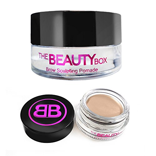 The Beauty Box Brow Sculpting Pomade, Smudge-Free, Waterproof Eyebrow Pomade, Fill and Texturize, 7 shades, 4g. -