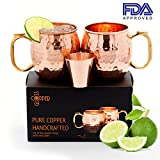 Cheap Moscow Mule Copper Mugs Set of 2-16Oz Pure Solid Copper Cups with Hammered Finish for Cold Drinks