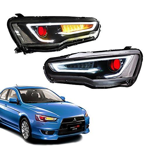 - MOSTPLUS Dual Beam DRL Devil Eyes Halo Projector Headlights for Mitsubishi Lancer EVO X 2008-2018(Set of 2)