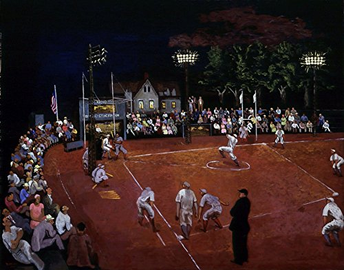 Baseball at Night : Moris Kantor : circa 1934 : Giclee Print