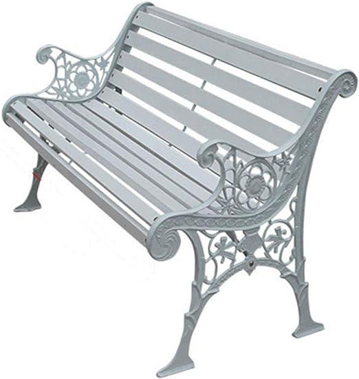 ROMX Banco Jardin Blanco,Banco de Jardín con Diseño Nostálgico,Asientos de Hierro Fundido y Madera Maciza,Apto para Uso en el Exterior Durante Todo el Año,125 cm × 58 cm × 76 cm: Amazon.es: