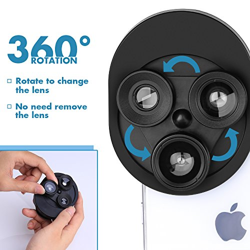 Phone Camera Lens 3 in 1, 20X Macro Lens, 198° Fisheye Lens, 0.62X Wide Angle Lens Clip On Universal HD Cell Phone Lens Kit Compatible Samsung iPhone6S/6Plus/6/Se/5/5S, Android Smartphones and More by COOLOO (Image #1)
