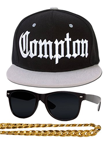 Gravity Trading Compton 80s Rapper Costume Kit Flat Bill Hat w Sunglasses, Chain - Black Grey -