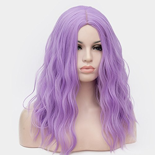 OneUstar Women's 18 inch Long Wavy Curly Wig Cosplay Party Wig Light Purple by OneUstar (Image #4)