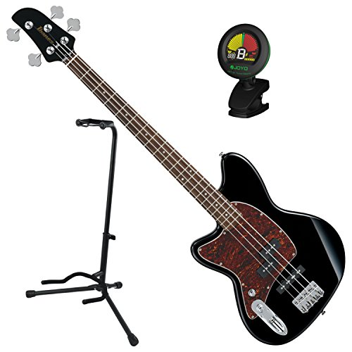 Ibanez TMB100LBK Left Handed 4 String Black Electric Bass Guitar w/ Tuner and Stand ()