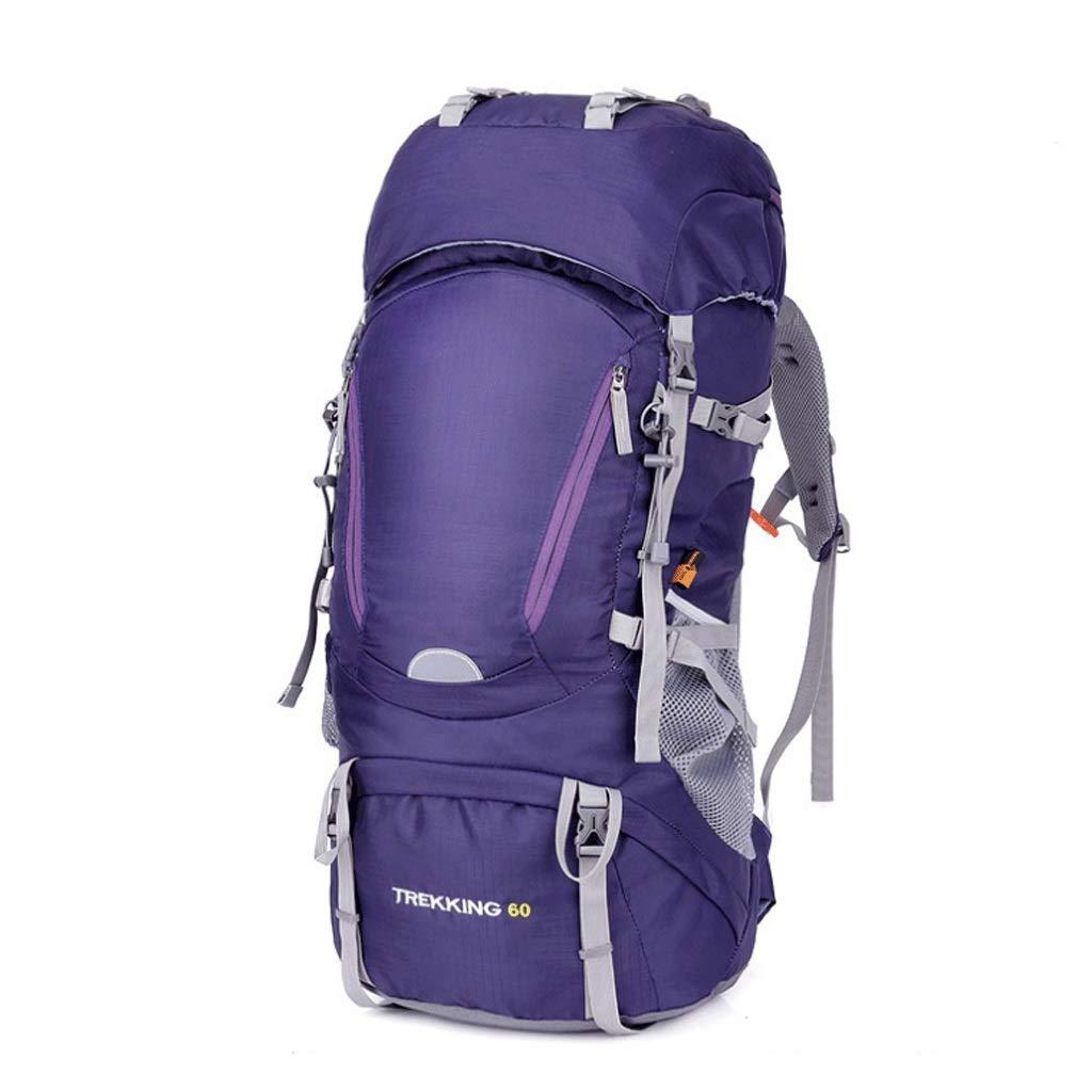 Djl 60l防水超軽量ハイキングバックパック付きレインカバー、アウトドアスポーツデイパックトラベルバッグ登山キャンプツーリング登山釣り (色 : 紫の, サイズ さいず : L34CMXW23CMXH73CM) L34CMXW23CMXH73CM 紫の B07Q7WJ7P4