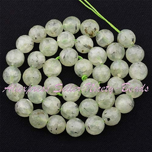 Calvas 4,6,8,10mm Round Bead Faceted Green Prehnites Natural Stone Beads for DIY Necklace Bracelat Jewelry Making 15