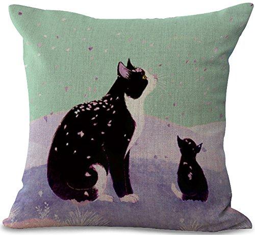 ChezMax Cotton Linen Cushion Cover Black Cat Pattern Square Decor Pillow Cover Decorative Throw Pillow Case 18