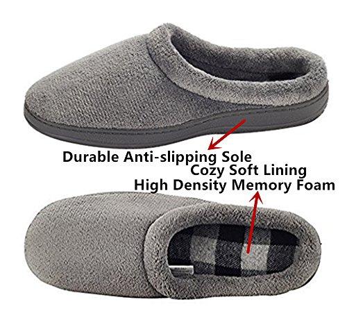 Plush amp;no On Festooning Coral Men's Slipper Fleece Grey Slip Lined n8FwT