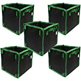 Casolly 5-Gallon Square Aeration Fabric Pot Planting Grow Bag w/Green Handles