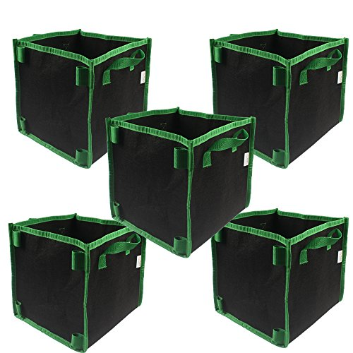 - Gardening Square 7-Gallon 5-Pack Grow Bags /Pots With Handle for Tomatoes and Plants