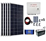 ECO-WORTHY 500 Watts Complete Solar Kit Off Grid: 5pcs 100W Polycrystalline Solar Panel Module + 60 A Charge Controller + Combiner Box + Solar Cable + Z Brackets + 200Ah 12V Batterry