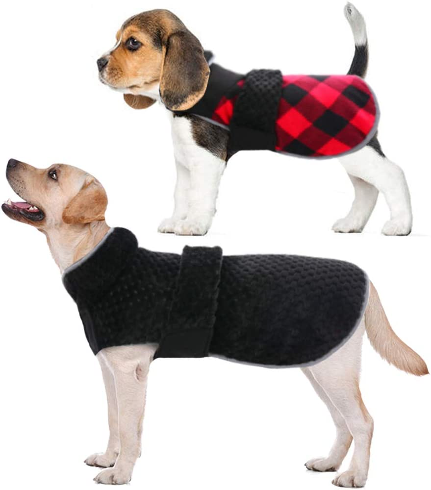 DORA BRIDAL Dog Winter Coat for Small Medium and Large Dogs, Reversible Pet Warm Jacket Plaid Cold Weather Vest with Upgraded Fleece Lined, Windproof Waterproof Pet Apparel XS-3XL