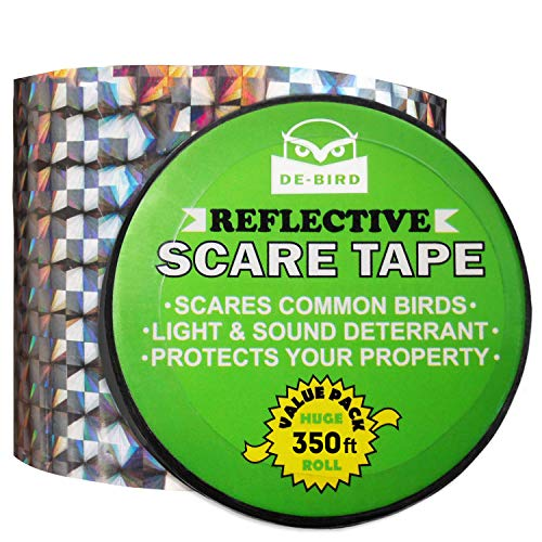 Bird Repellent Scare Tape - Simple Control Device to Keep Away Woodpeckers, Pigeons, Grackles and More. Defense Works Great with Netting and Spikes. Stops Damage, Roosting and Mess. Size (350ft -