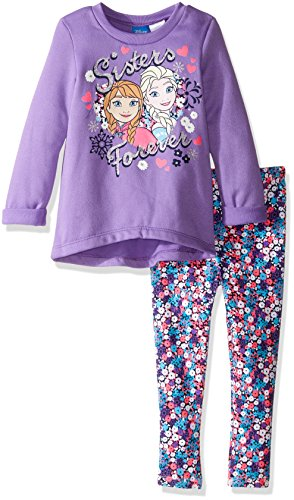 Frozen Outfits (Disney Little Girls' Toddler Frozen Sisters Legging Set with Fleece Top, Purple, 2T)