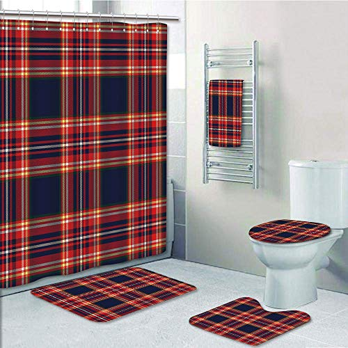 Bathroom 5 Piece Set shower curtain 3d print Multi Style,Red Plaid,Patchwork Inspirations Lines and Squares Traditional Pattern Vintage Illustration Decorative,Multicolor,Bath Mat,Bathroom Carpet - Multi Rug Inspirations Lines
