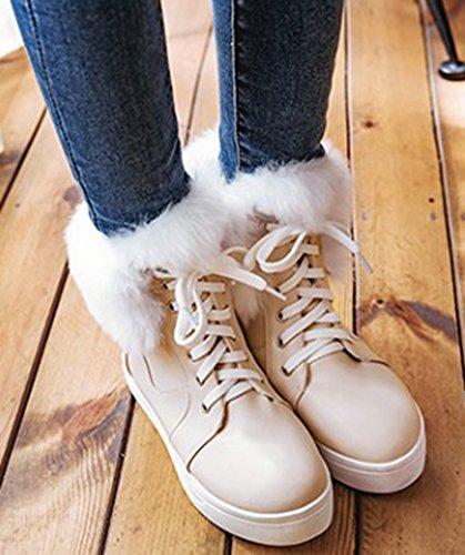 Booties Up Women's Platform Short Aisun Toe Lace Beige Sweet Round Snow 6Zx6qSUg