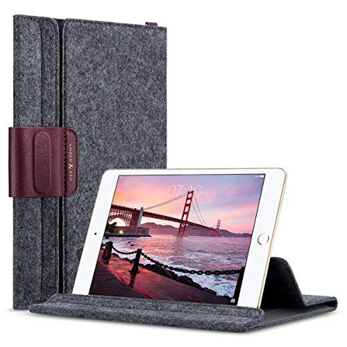 iPad Mini Sleeve Case for iPad Mini 1, 2, 3, 4 and 7 to 7.9 Tablet, Amber & Ash Ultra Slim Wool Felt Lightweight Cover Bag, Multi Angle View, Magnetic Closure Genuine Leather Decor (Burgundy Wine)