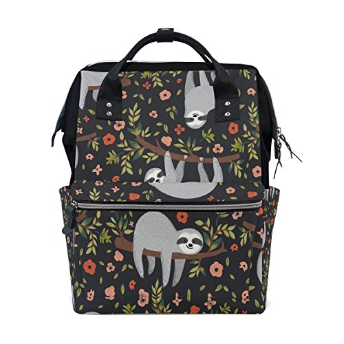 WOZO Funny Sloth Tree Floral Multi-function Diaper Bags Backpack Travel Bag