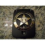 Vintage Concealed Weapon Badge Emblem Gold Color & Neck Chain Holder