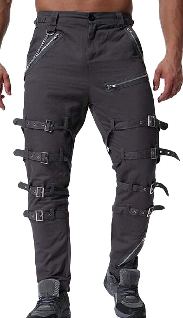 Cromoncent Mens Casual Chains Rugged Tactical Zipper Up Long Cargo Pants