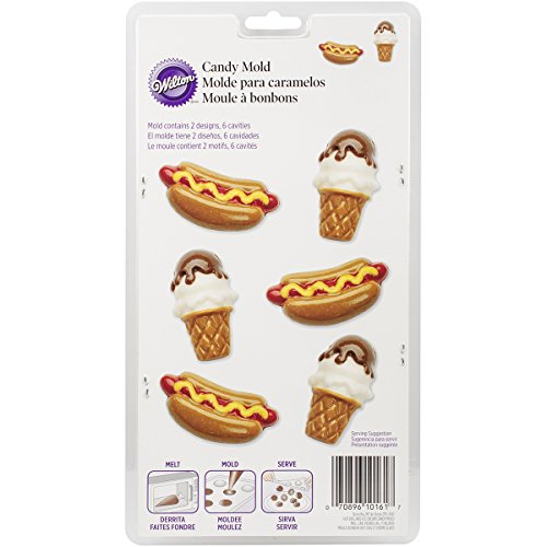 Wilton 2115-0161 Hotdog and Ice Cream Cone Candy Mold, Assorted ()