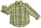 Polo Ralph Lauren Boys Plaid Cotton Poplin Button Down Shirt (4T, Yellow Green)