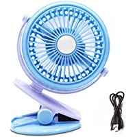 5-inch Mini Portable Clip Cooling Fans Rechargeable Battery/USB Operated Clip on Mini Desk USB Fan for Home Office Baby Stroller Car Laptop Computer Camping Small Personal Quiet Table Clip Fan