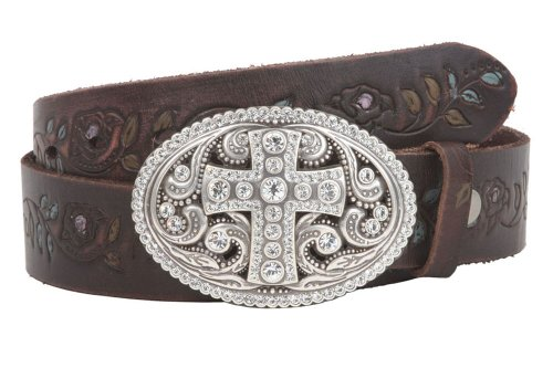 Snap On Floral Tree Embossed Full Grain Leather Rhinestone Cross Bling Belt Size: 32 Color: Brown