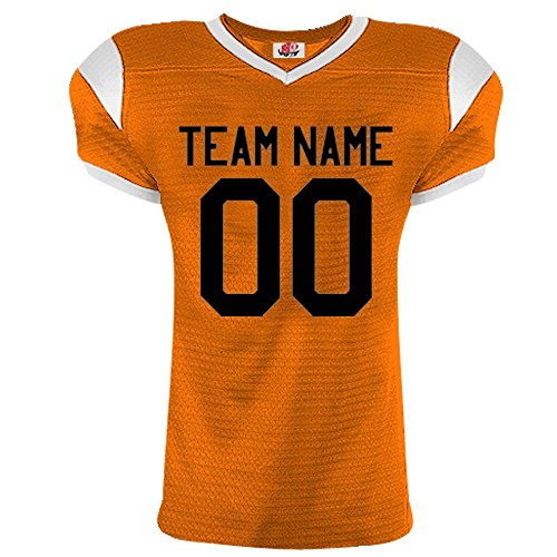 Pro Adult Style Full Button (Grinder Pro Football Jerseys in Adult Medium in Orange White)