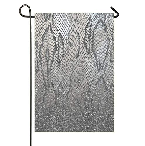 (Garden Flag Outdoor House Yard Flag Double Sided 12 x 18 Inches Indoor Banner Party Decor - Shimmer Silver Snake Glitter Abstract)