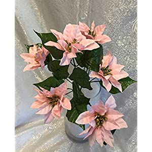 1 Bouquet of 6 Mini Pink Poinsettias Silk Wedding Decoration Flowers Artificial Arrangement Centerpiece Bouquet Christmas Bush 8