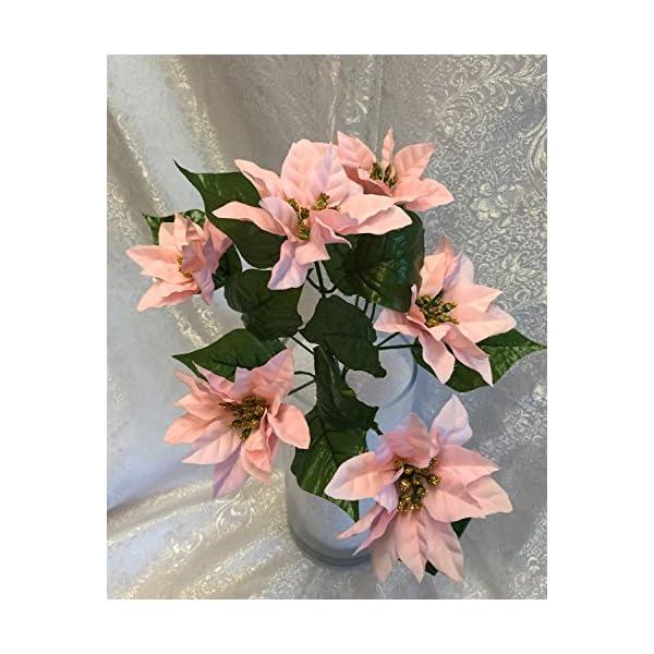 1 Bouquet of 6 Mini Pink Poinsettias Silk Wedding Decoration Flowers Artificial Arrangement Centerpiece Bouquet Christmas Bush