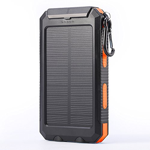 Elzle 10000mAh Portable Solar Charger External Backup Battery Pack Charger, IP67 Water-Resistant 2 USB Ports Solar Power Bank Phone Charger with 2 LED Flashlight, Carabineer and Compass