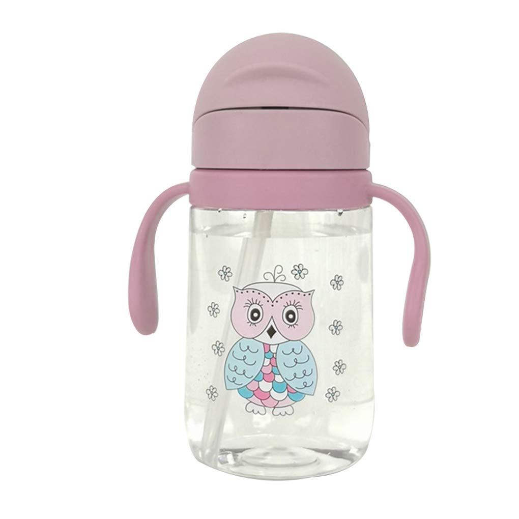 Water Straw Handle Bottle Baby Kids Cup School Drinking Bottle Training Cup