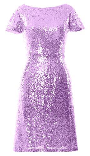 Cap Sleeve Boat Sequin Dress Bridesmad Dress Lavendel MACloth Cocktail Short Neck Women 5wAw4