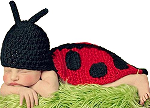 Lady Bug Infant Costumes (Fairy Wings Little Baby Ladybug Costume Handmade Crochet Knit Outfit Photo Prop)