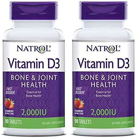 Natrol Vitamin D3 2,000 IU Mini Tabs, Strawberry, 90 Count (2 Pack)