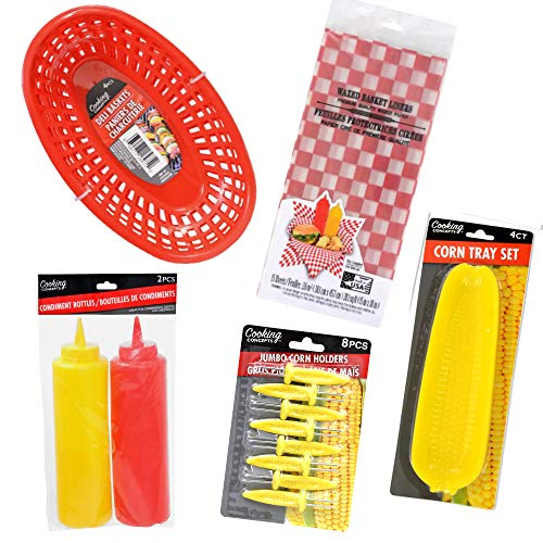 Red Plastic Food Baskets (4 ct.), Liners (15 ct.), Corn Cob Trays(4 ct.) Corn Skewers(8.ct.) With Ketchup And Mustard Squeeze Bottles. 33-pc Bundle