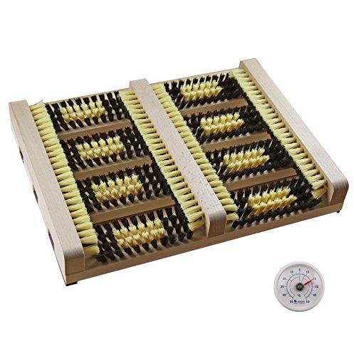 Fussabtreter mit Seitenleisten . Schuhabtreter , Schuhputzer , Schuhabstreifer . Holz natur mit kräftigen Kunststoff Borsten und Analog Thermometer Made in Germany (SB1117N)