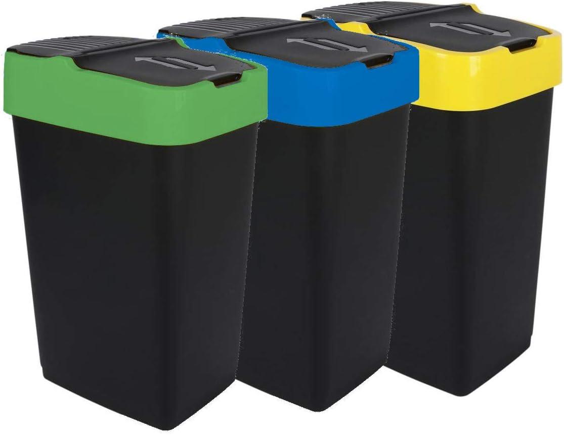 Spetebo Abfalleimer mit Schwingdeckel - 19 L - Mülleimer Abfallbehälter  Abfallsammler