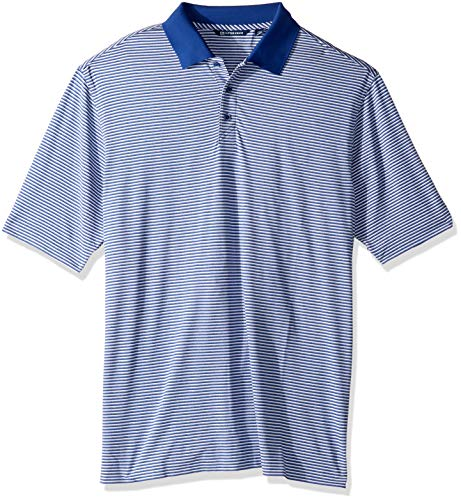 Cutter & Buck Men's Big and Tall Moisture Wicking Drytec UPF 50 Forge Tonal Stripe Polo Shirt, Tour Blue 3X