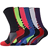 YOUNGBEST Men's Cushioned Crew Sock 6 Pack Outdoor Breathable Cycling Badminton Football Basketball Running Tennis Sports Sock for Men (6 Multicolor)