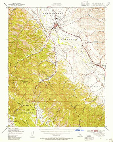 YellowMaps King City CA topo map, 1:62500 Scale, 15 X 15 Minute, Historical, 1948, Updated 1955, 20.8 x 16.6 in - Tyvek