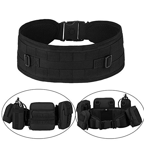 Huntvp MOLLE Tactical Belts Patrol MOLLE Belt with Mesh Lining for Shooting Airsoft Wargame Paintball Hunting (Black)