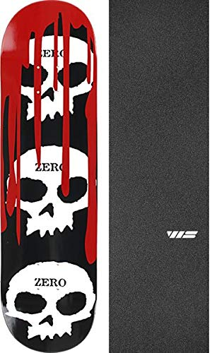 Bundle of 2 Items Zero Skateboards 3 Skull with Blood Black//White//Red Skateboard Deck 7.25 x 29 with Jessup WS Die-Cut Black Griptape