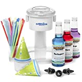 S700 Snow Cone Machine, 25 Snow Cone Cups, 25 Spoon Straws, Black Bottle Pourers | Snow Cone Machine and Syrup Party Package by Hawaiian Shaved Ice | Kit Features Top 3 Snow Cone Syrups