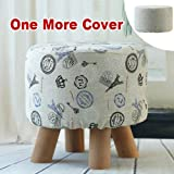 Sino Banyan Feet Stool with 1 More Cover,Soft Quick Detachable Cushion,Beige & Blue Tower